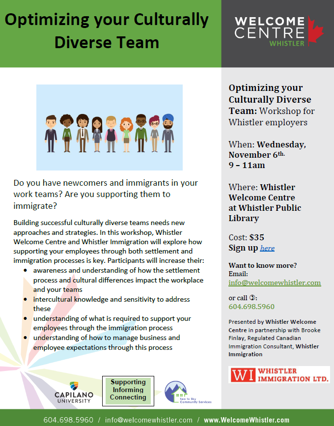 Whistler Immigration and Whistler Welcome Center Workshop-Optimizing your culturally diverse team